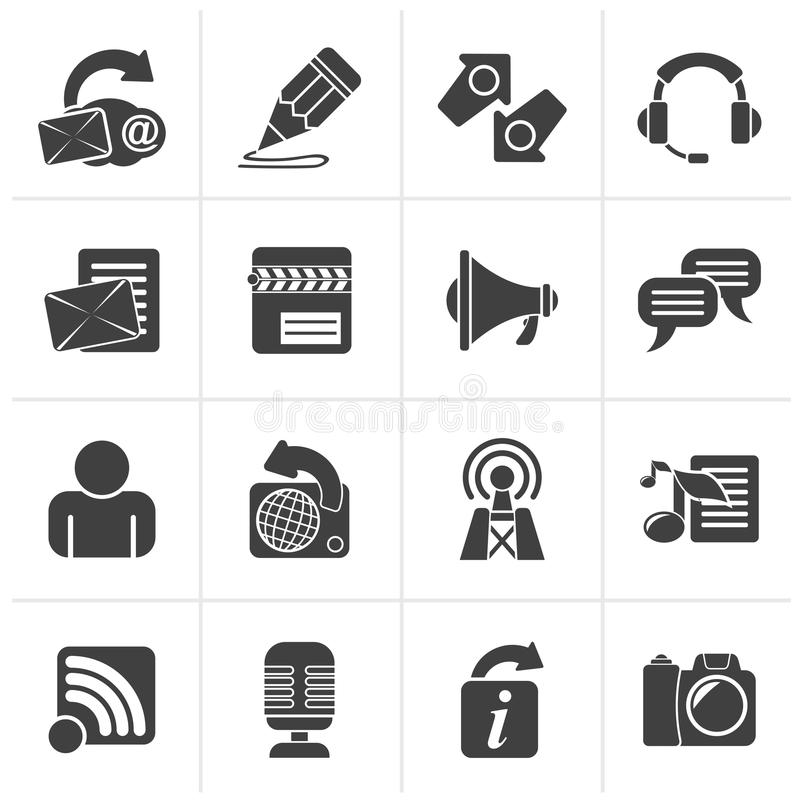 Icone nere di blogging, di comunicazione e della rete sociale illustrazione vettoriale