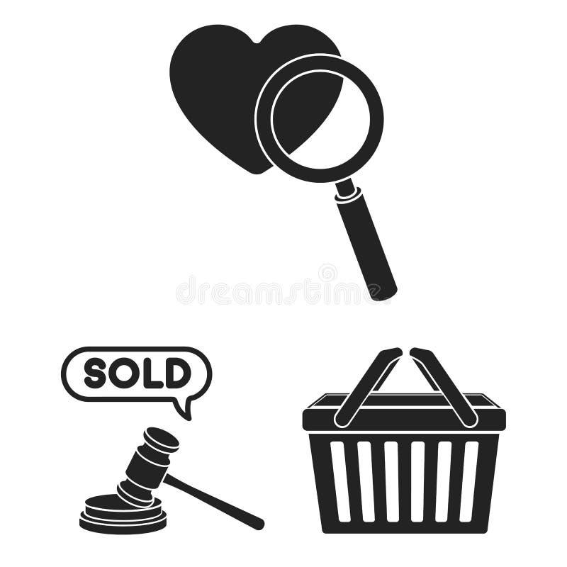 Icone nere di commercio elettronico, dell'acquisto e di vendita nella raccolta dell'insieme per progettazione Web di finanza e co illustrazione vettoriale