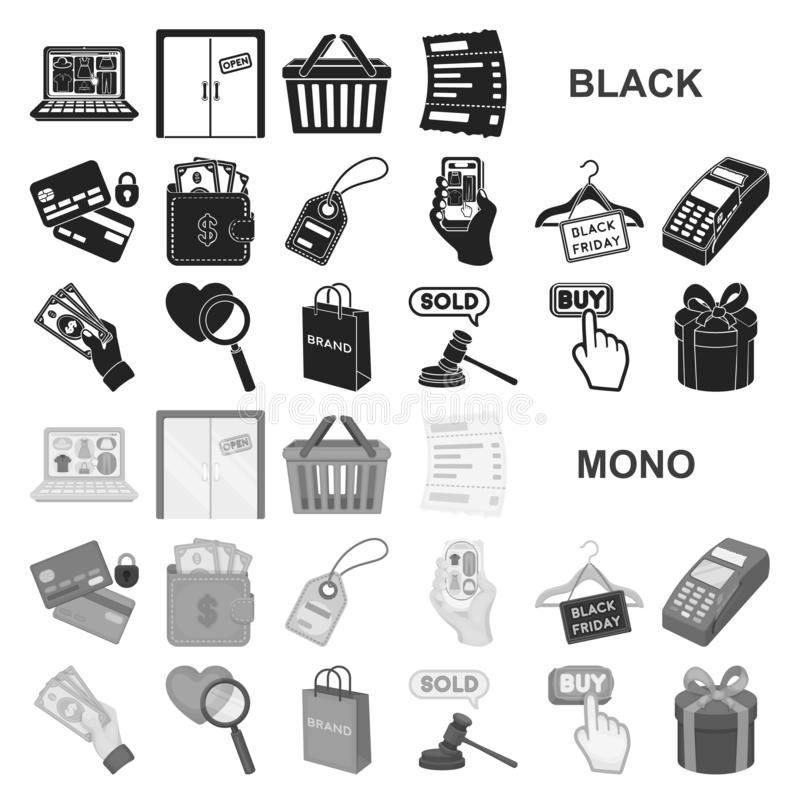 Icone nere di commercio elettronico, dell'acquisto e di vendita nella raccolta dell'insieme per progettazione Web di finanza e co illustrazione di stock