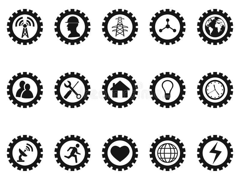 Icone nere di concetto dell'ingranaggio messe illustrazione di stock