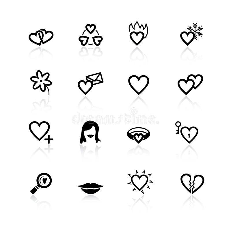 Icone nere di datazione e di amore illustrazione vettoriale