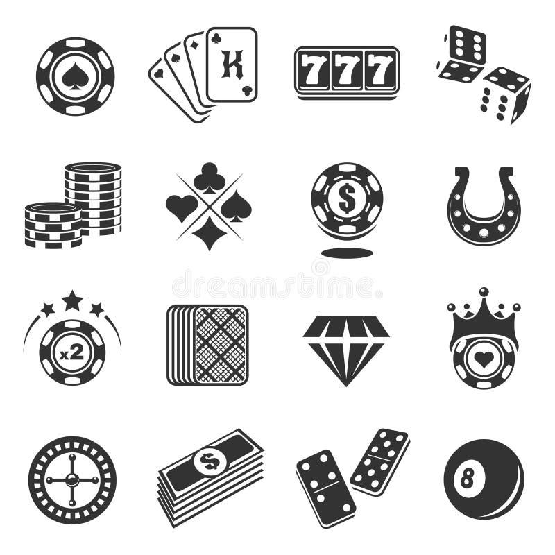 Icone nere di gioco messe isolate da fondo illustrazione di stock