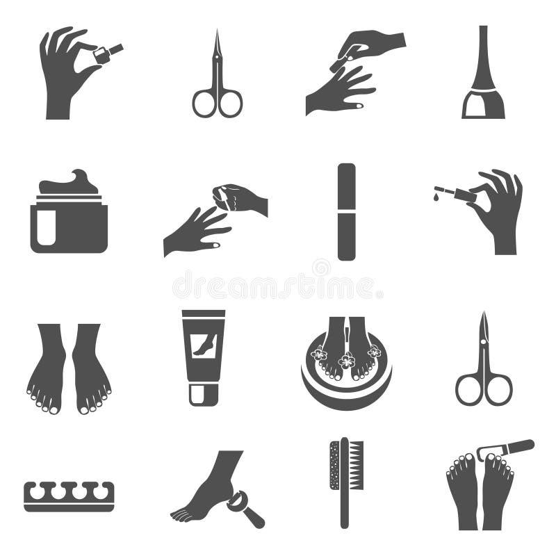 Icone nere di pedicure e del manicure messe illustrazione vettoriale