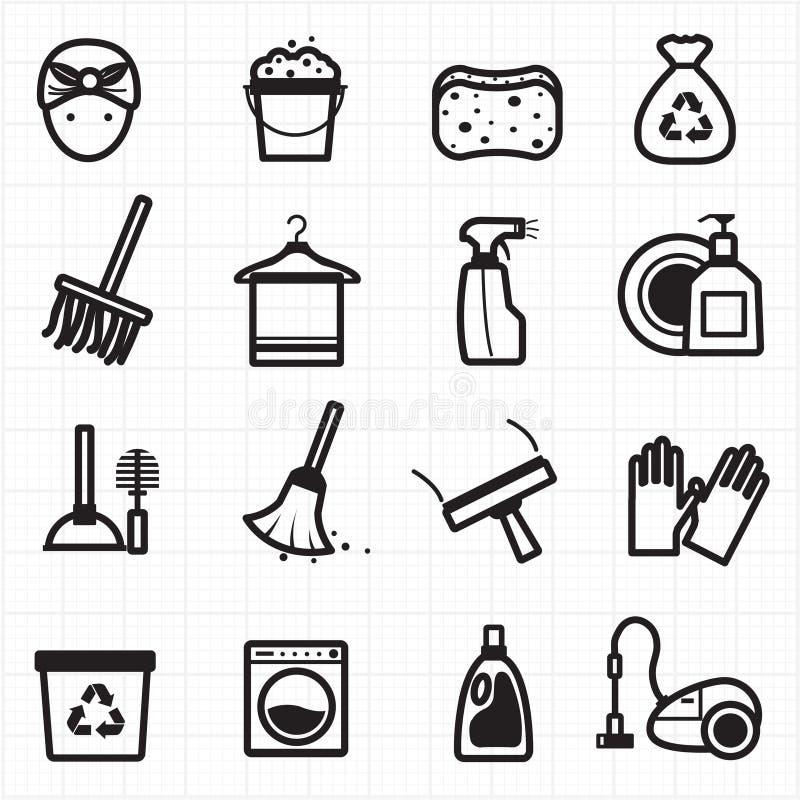 Icone nere di pulizia illustrazione di stock
