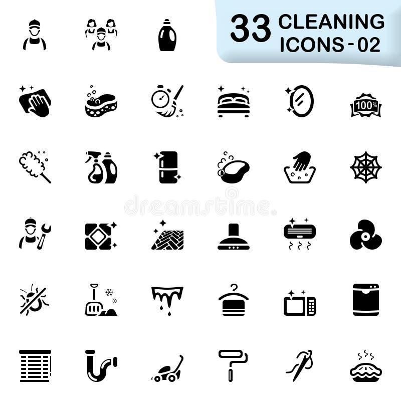 33 icone nere 02 di pulizia illustrazione vettoriale