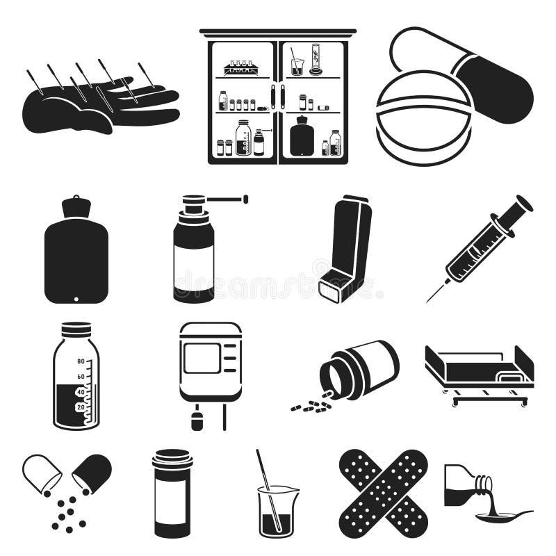 Icone nere di trattamento e della medicina nella raccolta dell'insieme per progettazione Web delle azione di simbolo di vettore d illustrazione vettoriale