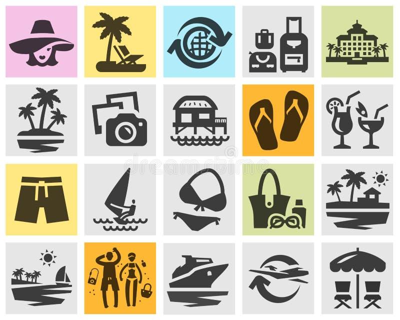 Icone nere stabilite della località di soggiorno Segni e simboli royalty illustrazione gratis