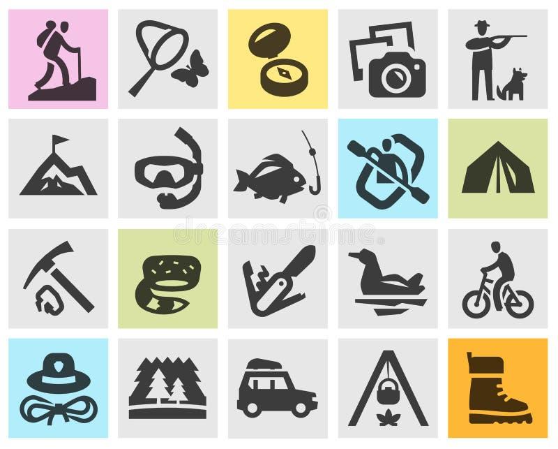Icone nere stabilite di campeggio Segni e simboli royalty illustrazione gratis