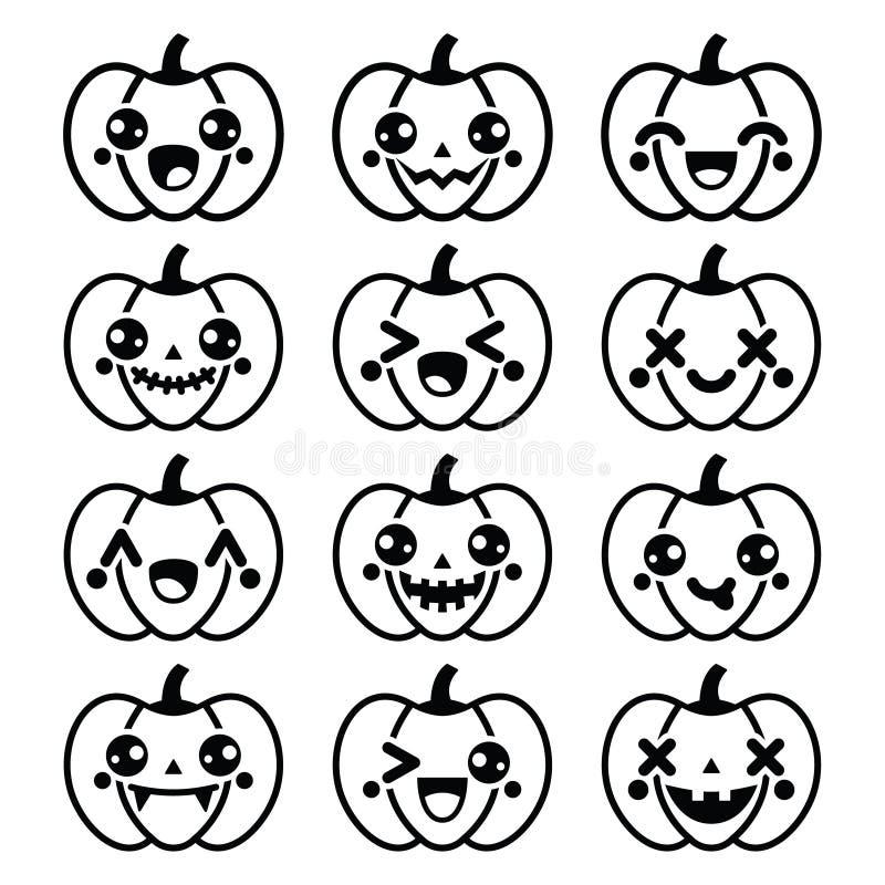 Icone nere sveglie della zucca di Halloween Kawaii - illustrazione di stock