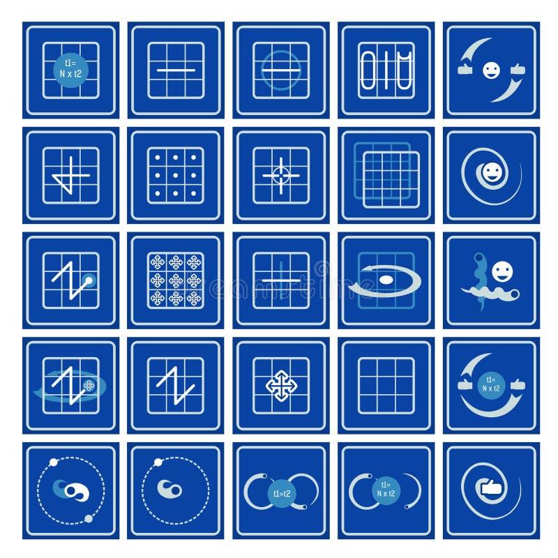 icone Nove quadrati nelle arti di flusso royalty illustrazione gratis