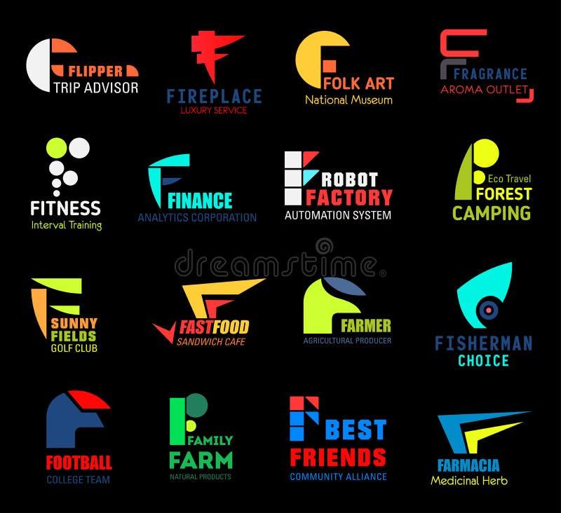 Icone o simboli della lettera F per l'affare isolato illustrazione di stock