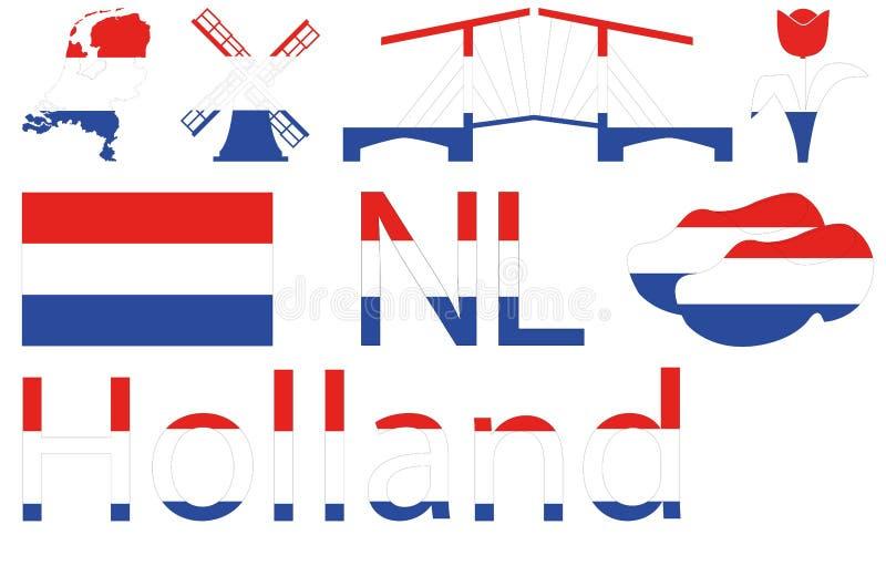 Icone olandesi in blu bianco rosso fotografie stock