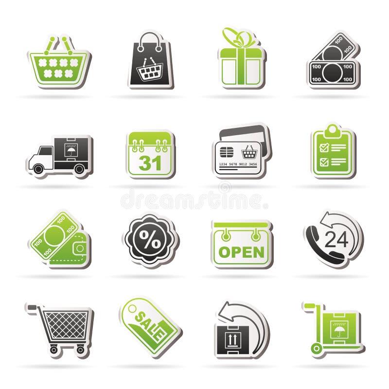 Icone online del negozio illustrazione di stock