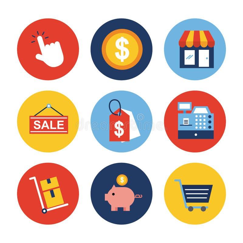 Icone online di acquisto messe illustrazione vettoriale