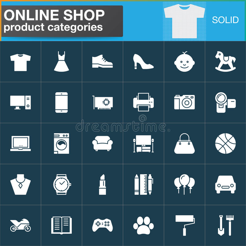 Icone online messe, raccolta solida moderna di simbolo, pacchetto bianco riempito di vettore di categorie di prodotto di acquisto illustrazione di stock