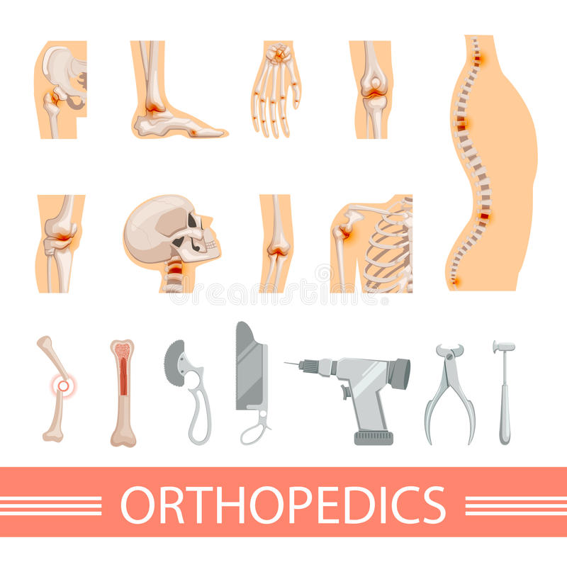 Icone ortopediche messe Scheletro umano, ossa ed accessori medici differenti illustrazione di stock