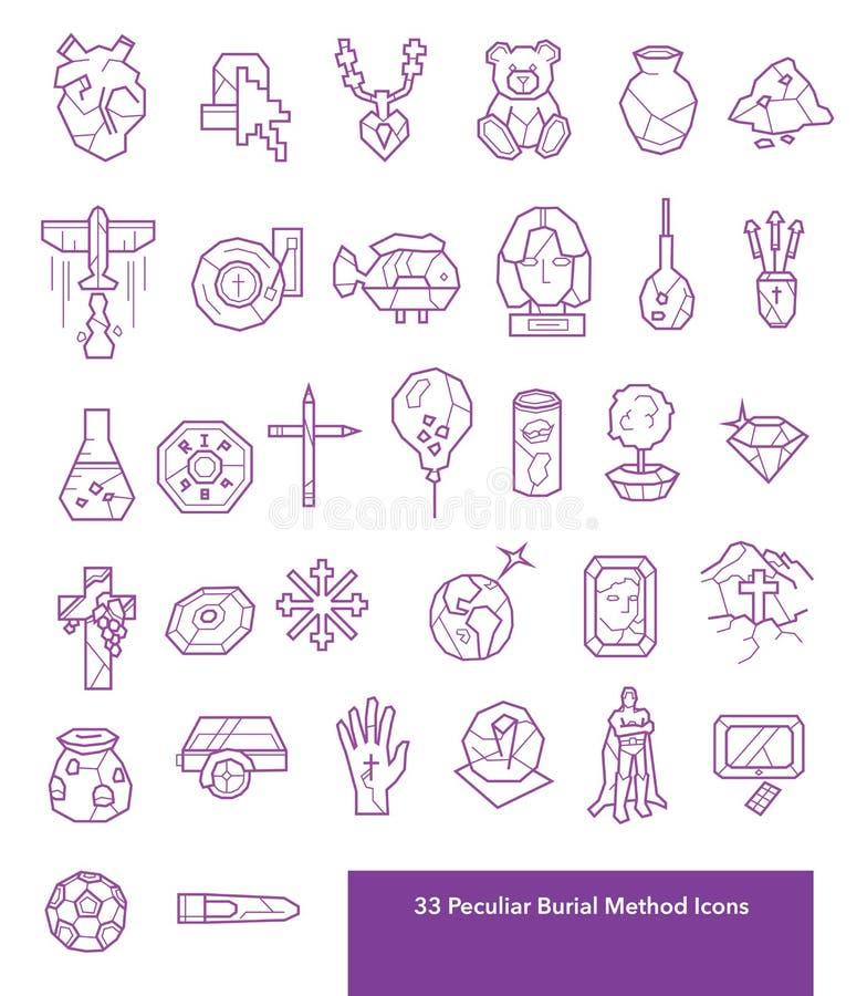 33 icone peculiari di metodo e di morte di sepoltura fotografia stock