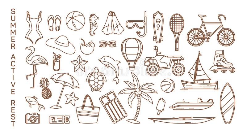 Icone per gli oggetti di ricreazione di resto o dell'attivo di estate royalty illustrazione gratis
