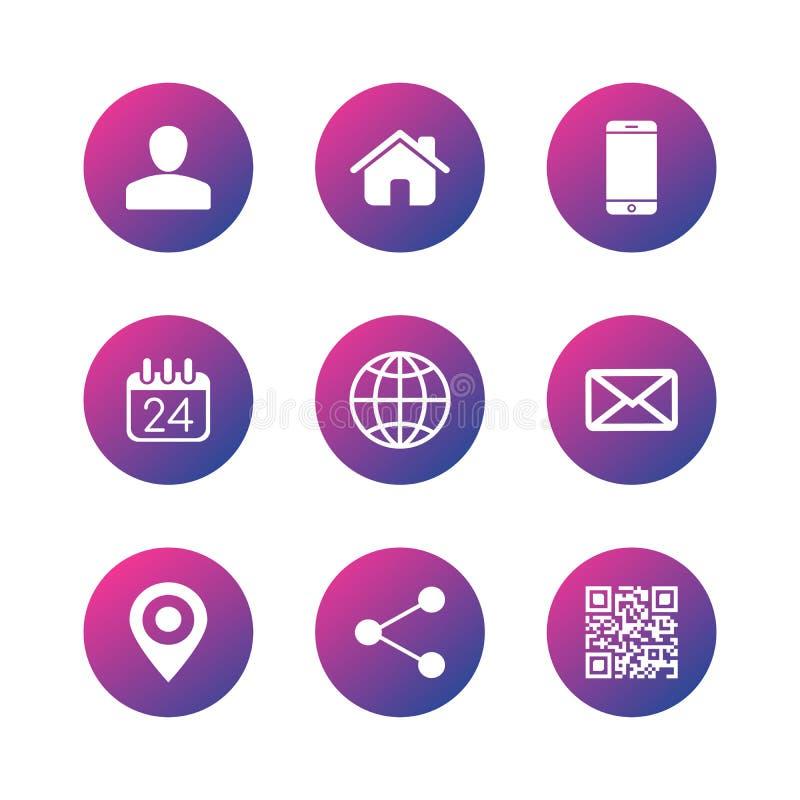Icone per il biglietto da visita, web, apps di comunicazione del contatto Illustrazione di vettore isolata su priorit? bassa bian illustrazione vettoriale