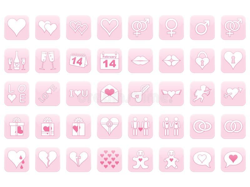 Icone per il giorno del biglietto di S. Valentino illustrazione di stock