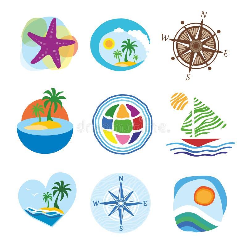 Icone per il viaggio ed il turismo illustrazione vettoriale