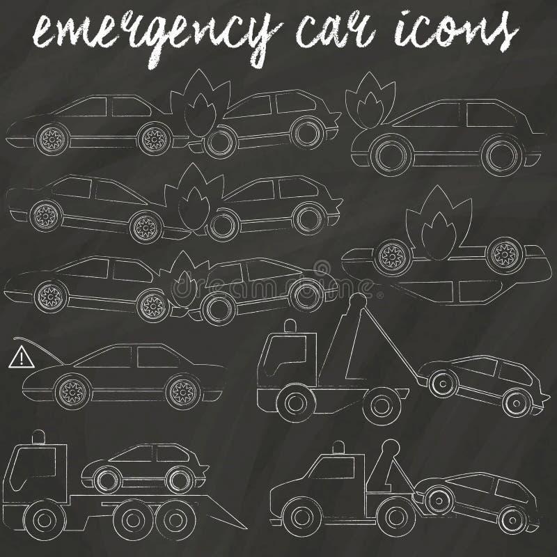 Icone per l'automobile accedent e il truxk di rimorchio illustrazione vettoriale