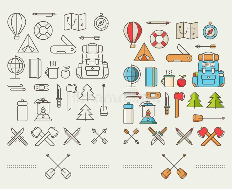 Icone per l'avventura nello stile del piano illustrazione di stock
