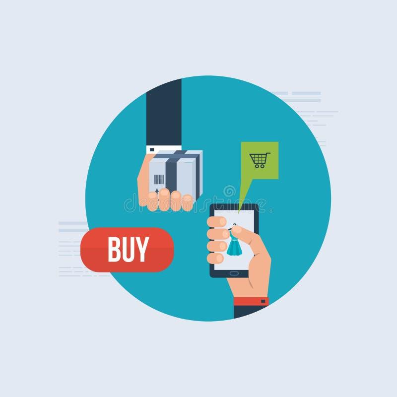 Icone per l'introduzione sul mercato di Internet, consegna ed online illustrazione di stock