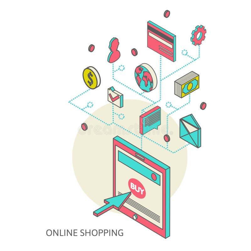 Icone per l'introduzione sul mercato mobile e l'acquisto online royalty illustrazione gratis