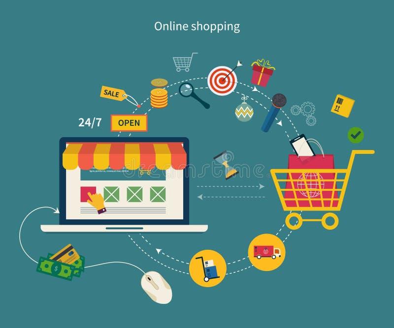 Icone per l'introduzione sul mercato mobile e l'acquisto online illustrazione vettoriale