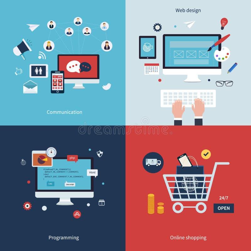 Icone per la comunicazione, web design, programmante royalty illustrazione gratis