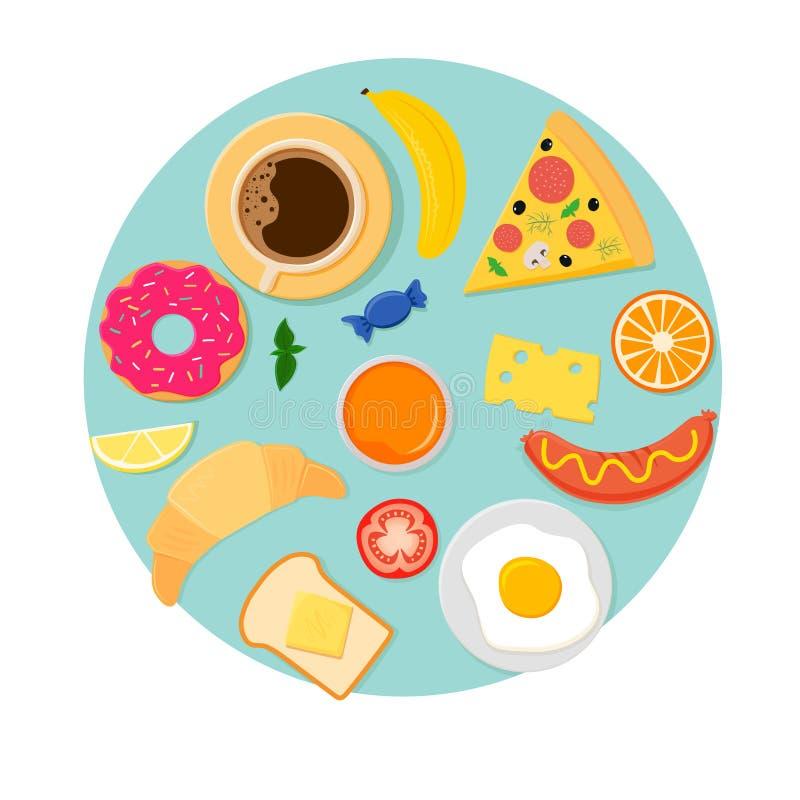Icone per la prima colazione su fondo blu illustrazione vettoriale