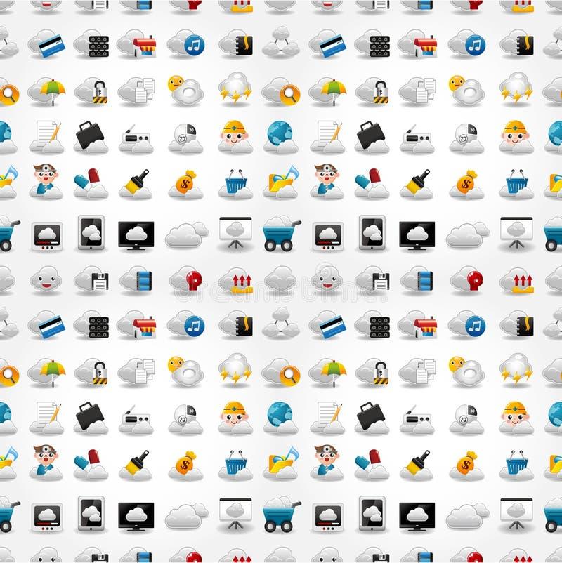 Icone per la rete della nube, reticolo senza giunte illustrazione di stock