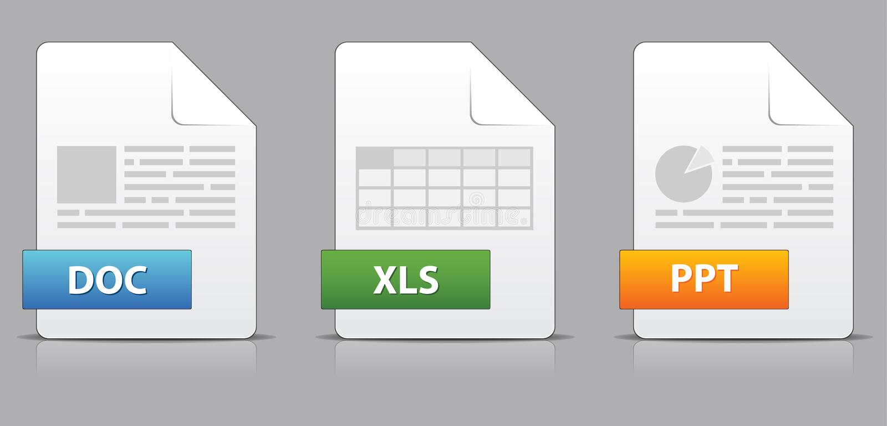 Icone per le estensioni di archivio dell'ufficio
