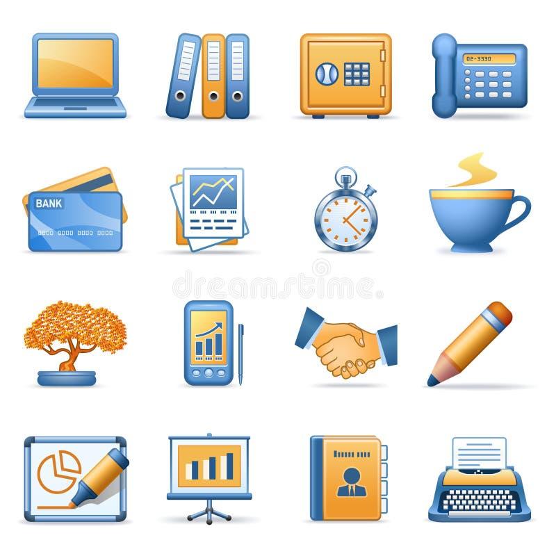 Icone per le serie arancioni blu 3 di Web royalty illustrazione gratis