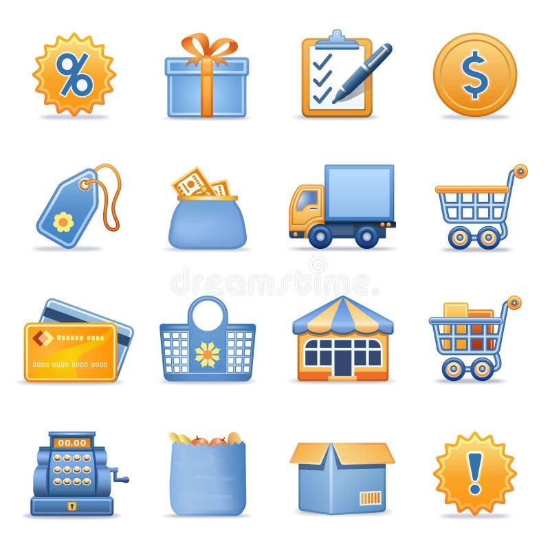 Icone per le serie arancioni blu 6 di Web illustrazione vettoriale
