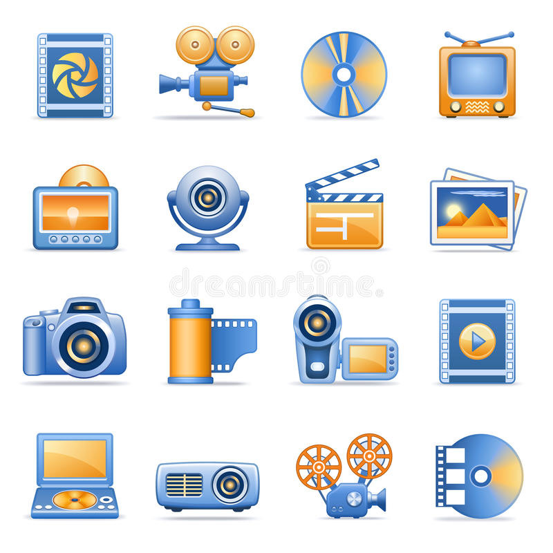 Icone per le serie arancioni blu 8 di Web illustrazione di stock