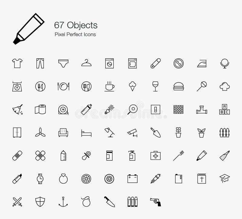 67 icone perfette del pixel degli oggetti (linea stile) royalty illustrazione gratis