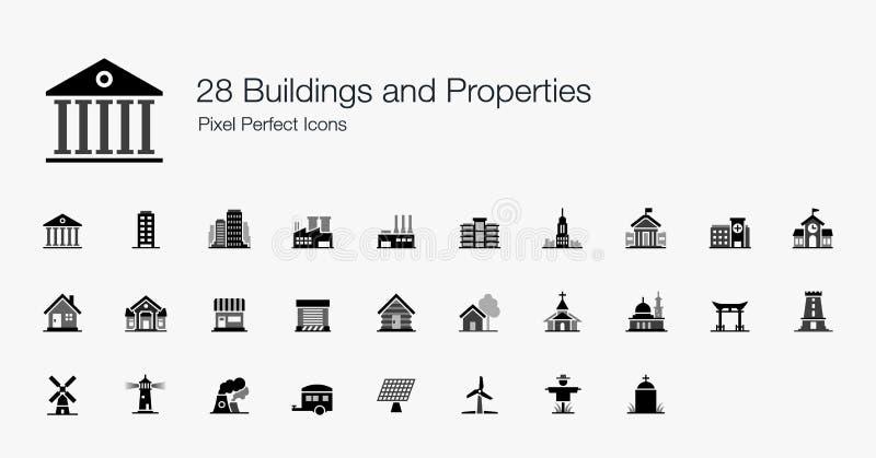 28 icone perfette del pixel delle proprietà delle costruzioni illustrazione di stock