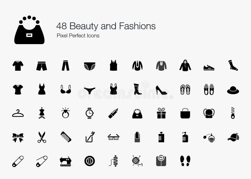 Icone perfette del pixel di bellezza 48 e di mode illustrazione vettoriale