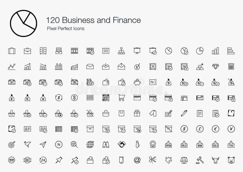120 icone perfette del pixel di finanza di affari (linea stile) illustrazione vettoriale