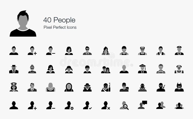 Icone perfette del pixel di 40 persone royalty illustrazione gratis