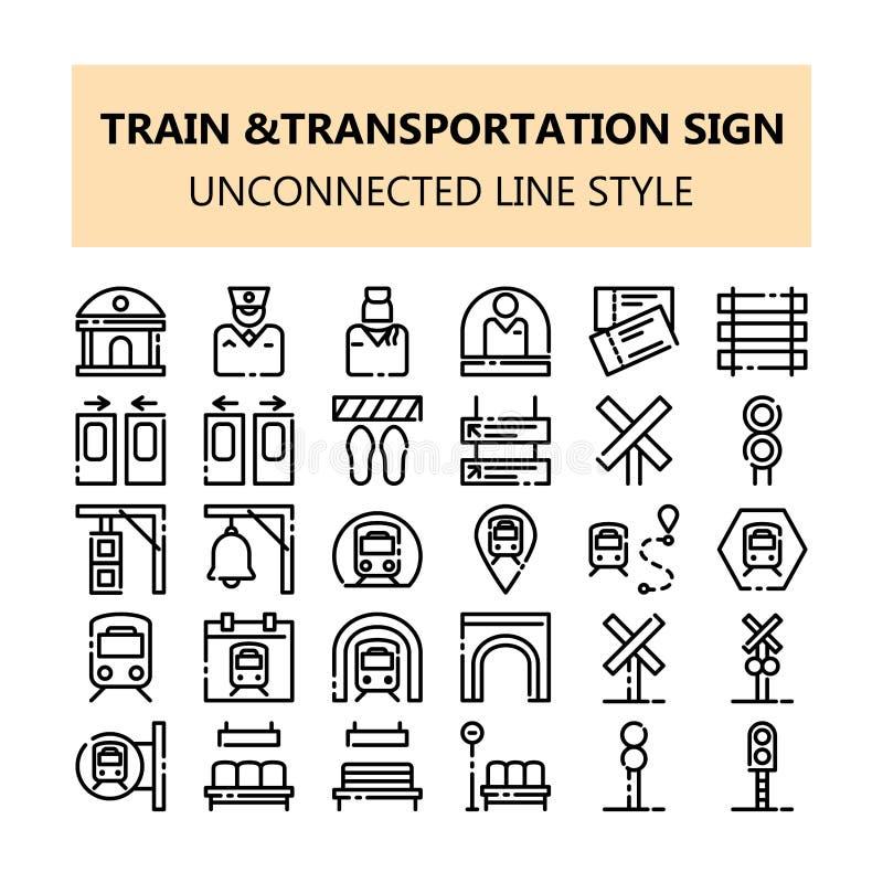 Icone perfette del pixel del segno del trasporto del treno messe nella linea stile disgiunta del profilo illustrazione di stock