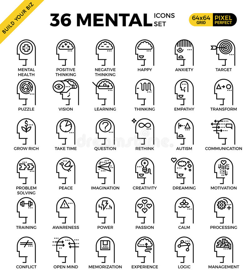 Icone perfette di mente & mentali del pixel del profilo royalty illustrazione gratis