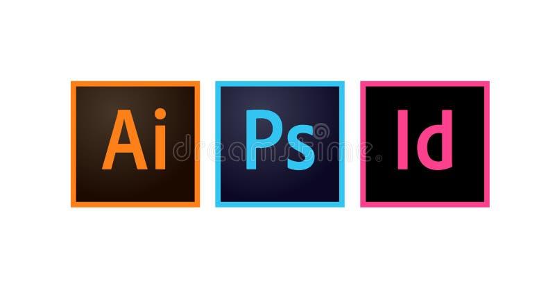 Icone Photoshop, illustratore e vettore editoriale di Adobe di Indesign royalty illustrazione gratis