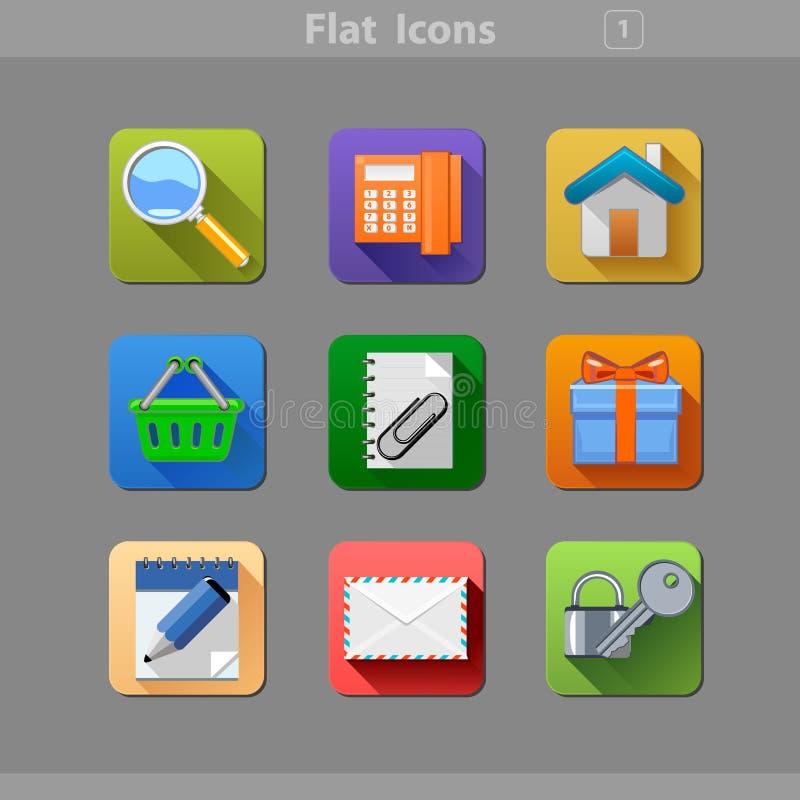 Icone piane 1 illustrazione vettoriale