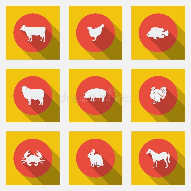 Icone piane alla moda con i tipi lunghi delle ombre di prodotti a base di carne Nove animali su un fondo luminoso illustrazione di stock