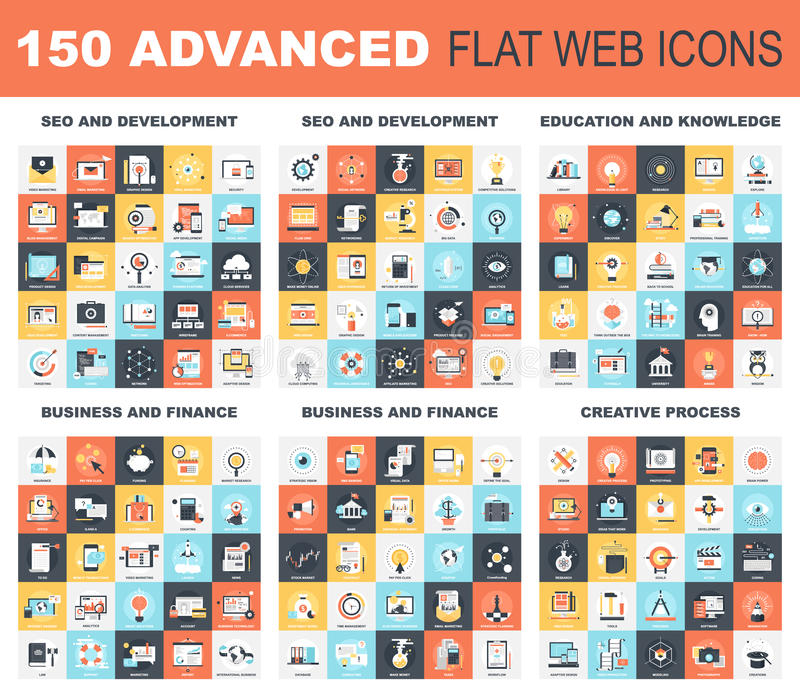 Icone piane avanzate di web illustrazione vettoriale