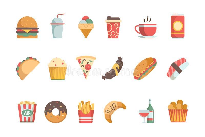 Icone piane degli alimenti a rapida preparazione Simboli freddi del menu dell'alimento di vettore dell'hamburger della pizza del  royalty illustrazione gratis