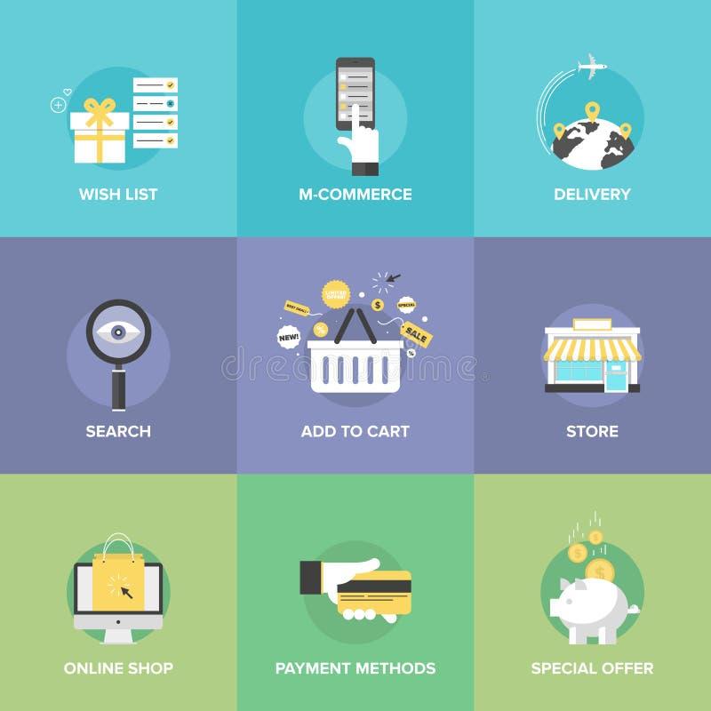 Icone piane degli elementi online di acquisto illustrazione vettoriale